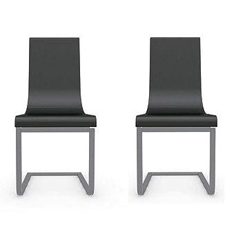 Inside - Juego de 2 sillas de Alta definición Cruiser Piel Negro ...