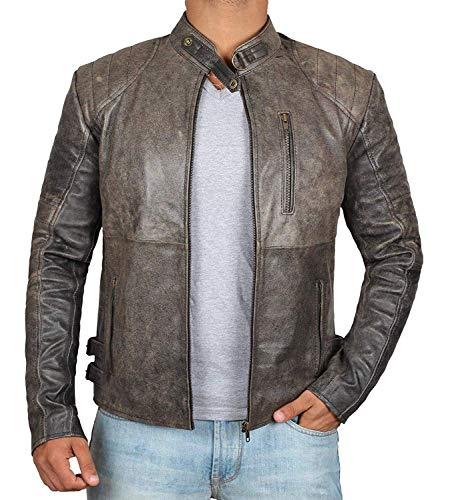 Michigan Brown Leather - BlingSoul Distressed Leather Motorcycle Jacket Men | Michigan, XL