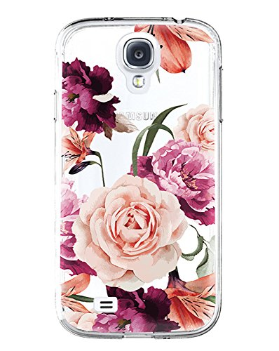 Galaxy S4 Case,Samsung Galaxy S4 Case with Flower,LUOLNH Slim Shockproof Clear Floral Pattern Soft Flexible TPU Back Cover for Samsung Galaxy S4 I9500 I9505 (Purple) (Galaxy 4 Samsung Case Phone)