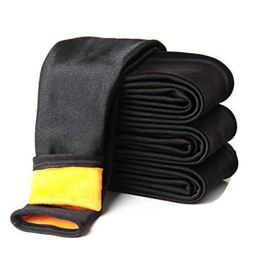 Tengo Girls Children's Winter Warm Velvet Shiny Leggings Pants(Black,140)