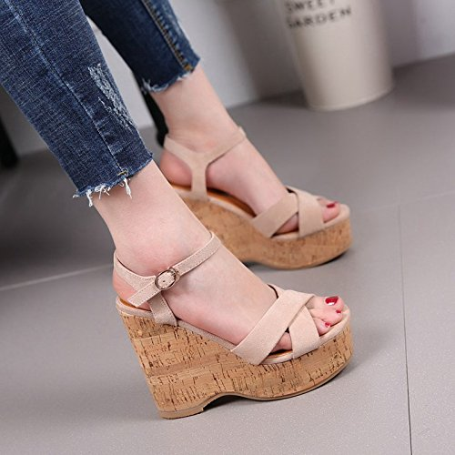 All High High Button Summer Word Waterproof Match Toe Sandals The MDRW Taiwan Heels Shoes 11 Heeled Thick Cross Straps Wedge Beige Female Soled 5Cm AXaC41
