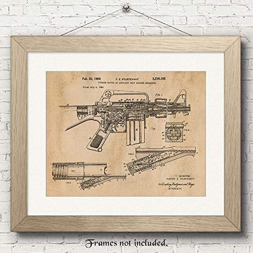 Original M16 Rifle Patent Art Poster Prints - 11x14 Unframed - Great Wall Art Decor Blueprints Gifts for Firearm Collectors, Gun Owners, Man Cave, Garage, Office, Big Boy's Room from Stars Arts