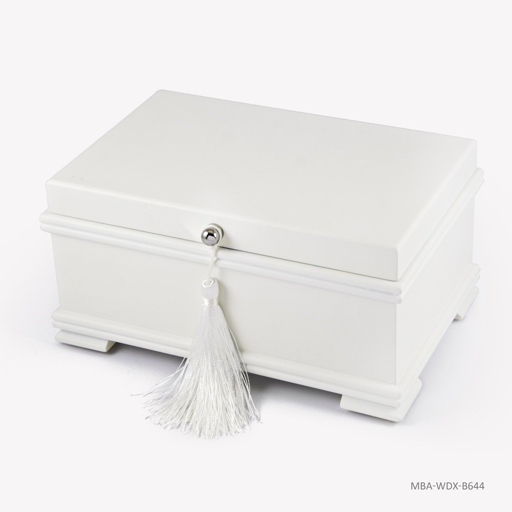 Contemporary 18 Note Matte White Musical Jewelry Box with Lift-Up Tray - Rock of Ages - Christian Version by MusicBoxAttic