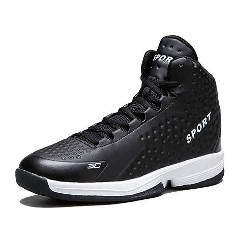 YAN Zapatillas de Baloncesto para Hombre, Zapatillas Altas de Piel con Cordones, Zapatillas Deportivas