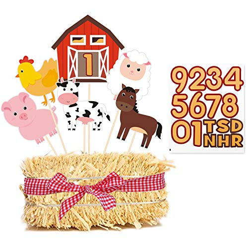 Animal Themed Baby Shower Ideas (Farm Birthday Party Centerpiece Sticks, DIY Farm Animals Table Decorations Barnyard Cutouts for Baby Shower, Birthday Decorations Set of 18)