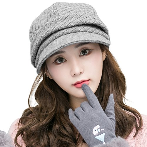 Siggi Womens Newsboy Cap Wool Knit Winter Visor Beret Cabbie Hat Soft Cotton Lined Gray Grey