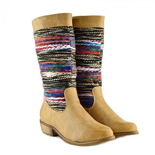 Damen-Frauen Flache Ferse Mild-Kalb Slip Auf Stiefel Mode-Smart-Schuhe Multicolor Tan