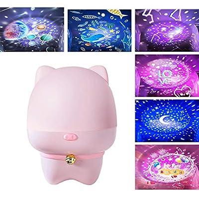 Starry Fantasy Rotating Projector Light LED Piggy Shape Romantic Starlight Battery Powered Night Light USB for Children Baby Sleep DMZ