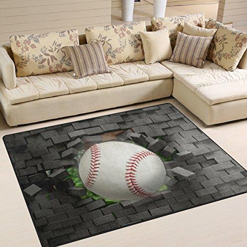 ZOEO Non Slip Area Rugs 3D Printing Baseball Sofa Mat Living Room Bedroom Carpets Doormats Home Decor - Rug Baseball Runner