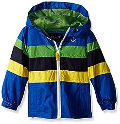 London Fog Little Boys\' Toddler Chest Stripe Poly Lined Jacket, Blue, 4T