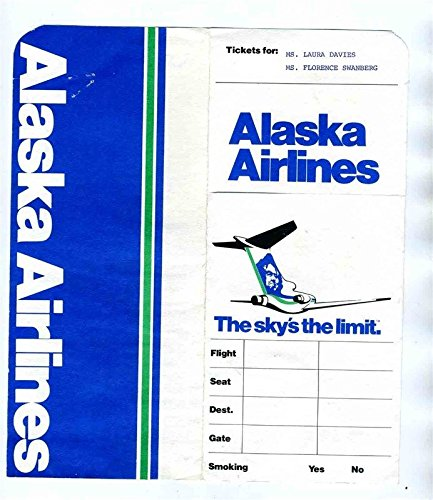 Alaska Airlines Ticket Jacket Baggage Claim Checks & Ticket Gustavus Glacier Bay -