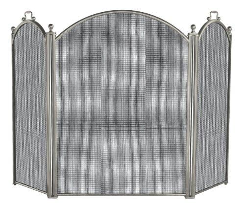 Uniflame 3 Panel Satin Pewter Screen (Pewter Satin Fireplace Tools)