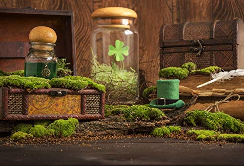 (Baocicco 9x6ft St.Patrick's Day Table Things Wood Plank Fence Photography Backdrop Irish Green Hat Magic Liquid Hand Scroll Lucy Magic Liquid Books Chests Moss Background Children Adults Portraits )