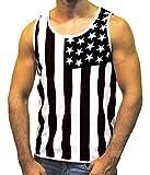tank top design - Men's American Flag Stripes and Stars Tank Top Shirt TAF06 Black S