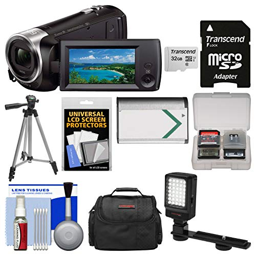 Sony Handycam HDR-CX440 8GB Wi-Fi 1080p HD Video Camera Camcorder with 32GB Card + Case + LED Light + Battery + Tripod + Kit