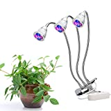 Triple-Head LED Plant grow lamp With Flexible Necks and Three Independent Switches. For Use With Tobacco, Hydroponics, Greenhouse Horticulture, Indoor Plants and Home or Office Potted Plants.