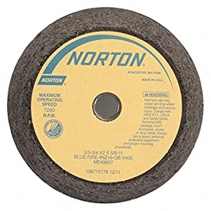"""6"""" Type 11 Zirconia Alumina Flaring Cup Grinding Wheel, 5/8""""-11 Arbor, 2"""" Thick, 16 Grit, 6000 Max."""