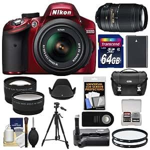 Nikon D3200 Digital SLR Camera & 18-55mm G VR DX AF-S Zoom Lens (Red) with 55-300mm VR Lens + 64GB Card + Case + Battery + Grip + Tripod + Lens Set + Filters Kit