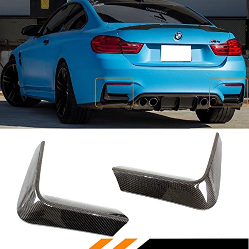 FOR 2015-2018 BMW F80 M3 F82 F83 M4 CARBON FIBER REAR BUMPER LOWER CORNER VENT VALANCE LIP COVERS