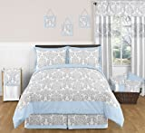 Sweet Jojo Designs 3-Piece Blue, Gray and White Avery Damask Print Children and Teen Full/Queen Girl or Boy Bedding Set Collection