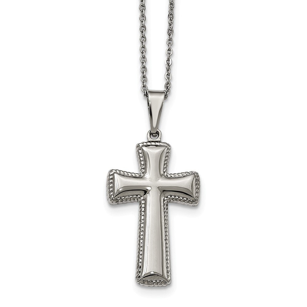 Jay Seiler Stainless Steel Polished Medium Pillow Cross Necklace 18 in, Length