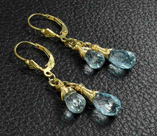 - Handmade Sky Blue Topaz Wire Wrapped Briolette 14k Gold Filled Leverback Earrings - Made In Alaska