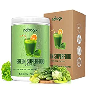 Green Superfood Powder by Natrogix - 32 Whole Food Greens Ingredients - Spirulina, Acai, Spinach + More - Probiotics and Enzymes for Superior Digestion and Health.8.5 oz 30 Day, Upgraded Taste