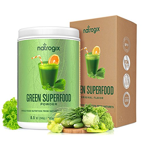 Green Superfood by Natrogix Super Greens Powder - 32 Whole Food Ingredients - Spirulina, Chlorella, Spinach, Barley/Wheat GrassProbiotics Enzymes for Digestion Health. 8.5 oz 30 Day, Upgraded Taste