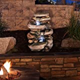 Go Yard Stone Waterfall Fountain with LED Lights