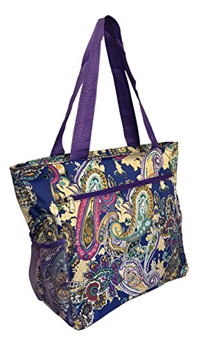 Large Multi - Pocket Fashion Zipper Top Organizing Beach Bag Tote - Custom Embroidery Available (Paisley Print- Purple Trim)