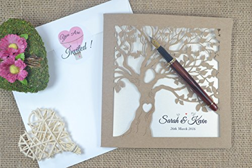50 Laser cut weddding invitations with envelopes by FoxfordAtelier