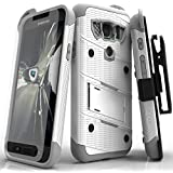 Zizo BOLT Series compatible with Samsung Galaxy S7 Active Case Military Grade Drop Tested with Tempered Glass Screen Protector Holster WHITE GRAY