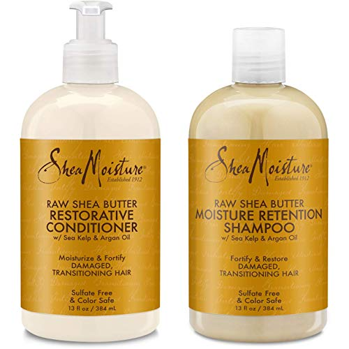 Shea Moisture Raw Shea Butter Restorative Shampoo 13oz and Conditioner Bundle 13oz (Best Shea Butter Products)