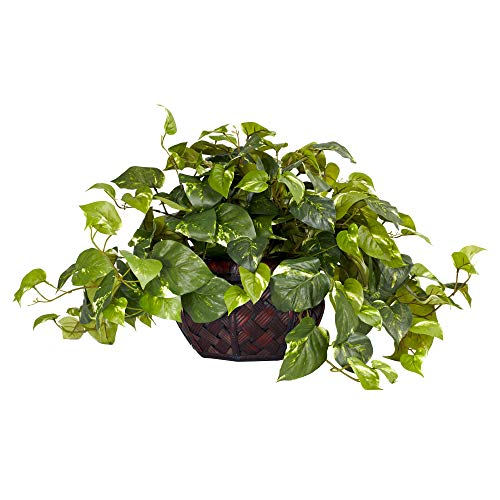 (Nearly Natural 6681 Pothos with Vase Decorative Silk Plant, Green)