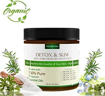 Dead Sea Bath Salt – Organic Detox Mineral Body Soak w/Relaxing Essential Oils - Reduce Cellulite, Slim Down, Improve Skin, Circulation - Luxury Aromatherapy