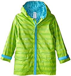 i play. Toddler Midweight Raincoat, Lime Stripe, 3T-4T