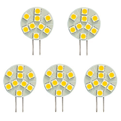 7 Side Pin G4 LED Disc Halogen Replacement Bulb, 1.8W, 15-20W Equal, Warm White 2700K, 5-Pack(Not Dimmable) ()