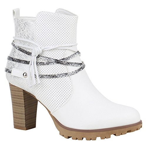 Stiefelparadies Damen Ankle Boots Plateau Stiefeletten Zipper Leder-Optik Schuhe Metallic High Heels Strass Profilsohle Booties Flandell Weiss Metallic