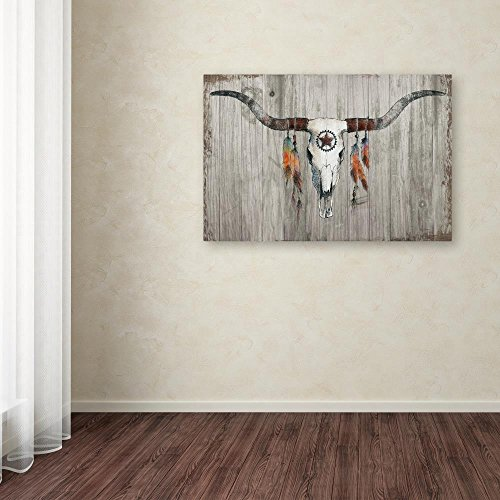 Longhorn on Dark Gray Wood by Avery Tillmon, 30x47-Inch Canvas Wall Art by Trademark Fine Art (Image #2)