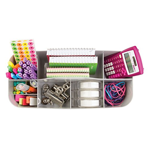 mDesign Large Office Storage Organizer Utility Tote Caddy Holder with Handle for Cabinets, Desks, Workspaces - Holds Desktop Office Supplies, Gel Pens, Pencils, Markers, Staplers, 4 Pack - Light Gray by mDesign (Image #2)