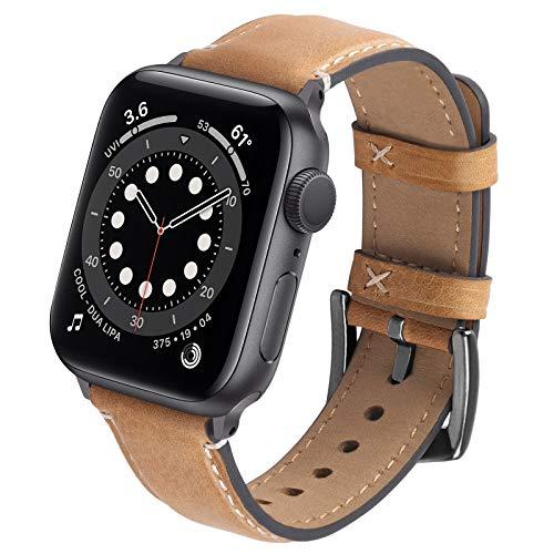 GerbGorb Leren armband compatibel met Apple Watch armband 42 mm 44 mm 38 mm 40 mm vintage leren reservearmband voor…
