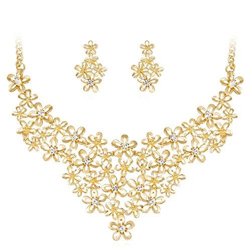 Gold Plated Avon (Hbinydepial Flower Rhinestone Necklace Earrings Women Wedding Banquet Fashion Jewelry Set)