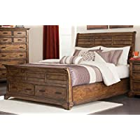 Coaster Elk Grove Queen Sleigh Bed with Drawers in Vintage Bourbon