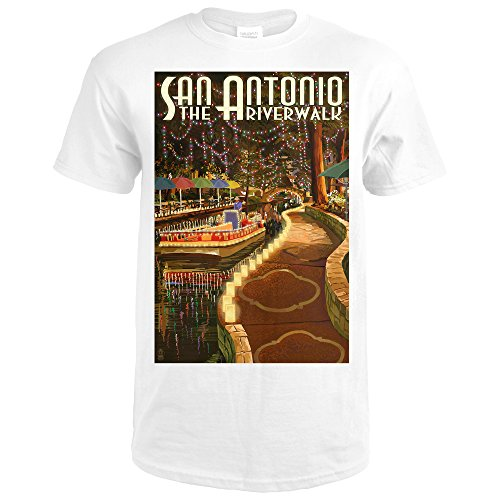 San Antonio, Texas - The Riverwalk (Premium White T-Shirt - Shops San Antonio Riverwalk