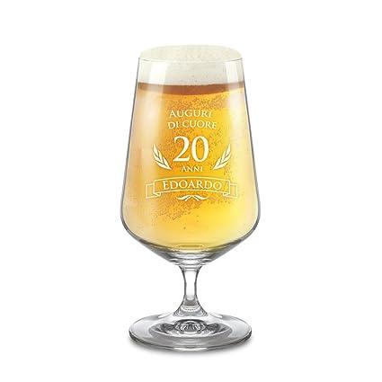 23c2e7bcbb AMAVEL - Bicchiere per Birra Chiara con Incisione - 20 Anni - Personalizzato  con [Nome