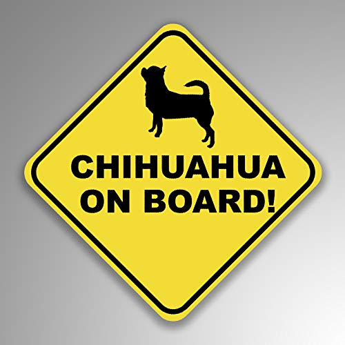 (JMM Industries Chihuahua On Board Vinyl Decal Sticker Car Window Bumper 2-Pack 4-Inches by 4-Inches Premium Quality UV Protective Laminate PDS1235)