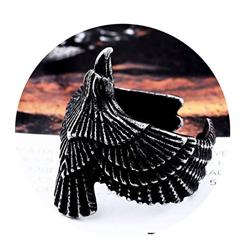 Bishilin Stainless Steel Ring for Men 28MM Eagle Ring for Men Wedding Black Ring for Men Fashion Size 11