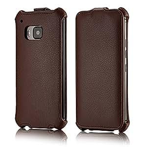 tinxi® PU piel funda protectora para HTC One M9 con la función del soporte y la ranura para tarjetas Up / down con el color marron fondo