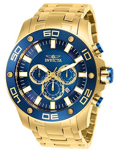 Invicta Men's Pro Diver Quartz Watch with Stainless Steel Strap, Gold, 30 (Model: 26078) (Watch Invicta 0074)