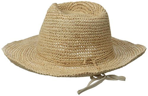 Physician Endorsed Women's Trini Crochet Raffia Cowgirl Hat Trimmed with String and 3 Stones Memory Wire, Natural/Purple, One Size